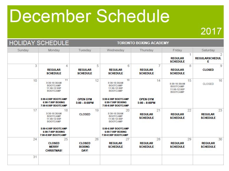 TBA December Schedule 2017